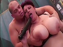 BBW playing with a dildo