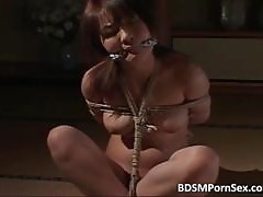 Teen Asian slut is in bondage with ropes