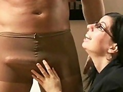 Humiliated and forced to cum in is own nylon