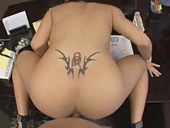 Hot dolly stuffed with pov dick in office