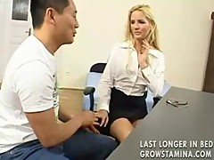 Japanese guy fucks young office blonde part1