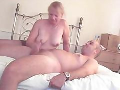 Chubby Mature Blonde In Pantyhose Gives This Guy A Handjob