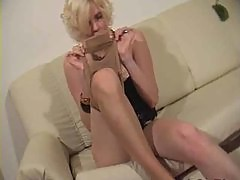 Sniffing and playing with pantyhose