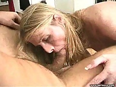 Blonde tranny gives head