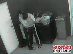 Horny couple fucking in the laundry room gets busted